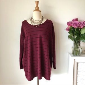 J. Jill oversized shimmer stripe knit pullover
